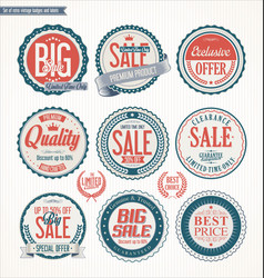 set of retro vintage blue and red labels and vector image