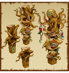Set of totems with shark and octopus hesds vector image
