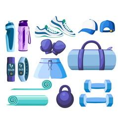 set sports accessories and clothes blue and vector image