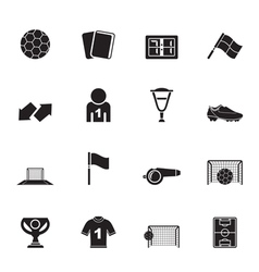 Silhouette football and sport icons vector image vector image