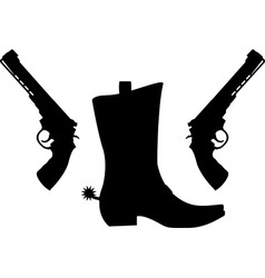 silhouette of pistols and boot with spurs vector image