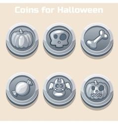 Silver coins for Halloween vector