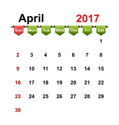 simple calendar 2017 year april month vector image