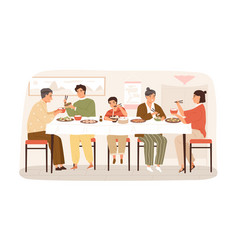smiling korean family eating national food sitting vector image