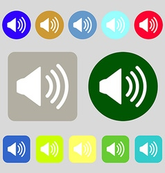 Speaker volume sign icon Sound symbol 12 colored vector image