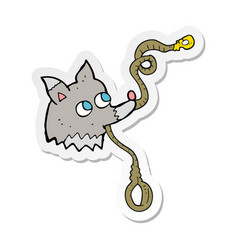 Sticker a cartoon dog with leash vector