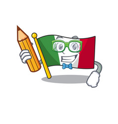 Student italy flags placed in cartoon tables vector