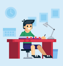 student school or preschool kid boy studying vector image