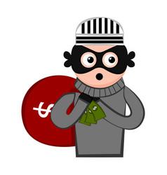 Surprised thief cartoon vector