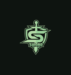 sword shield mascot logo for sports vector image