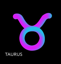 taurus text horoscope zodiac sign 3d shape vector image