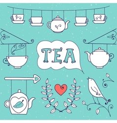 Tea card Set of elements for design vector image