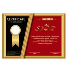 Template certificate appreciation elegant gold vector