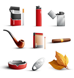 Tobacco products realistic set vector