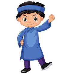 Vietnam boy in blue outfit vector
