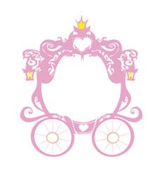 Vintage decorative pink carriage frame vector