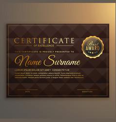 Vip certificate design in golden color vector
