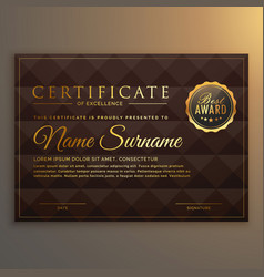 Vip certificate design in golden color with vector
