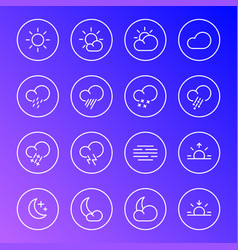 Weather icons meteorology simple line symbols vector