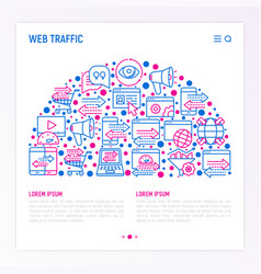 Web traffic concept in half circle vector