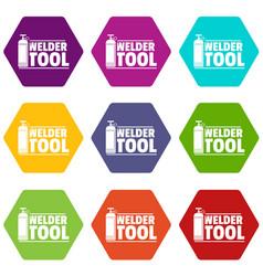 welder tool icons set 9 vector image