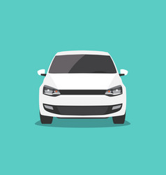 white car isolated front view vector image