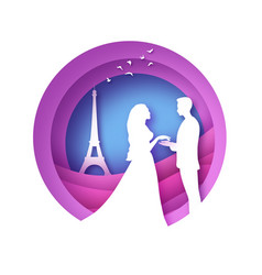 White silhouette of romantic lovers with eiffel vector