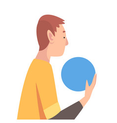 Young man holding blue ball guy organizing vector