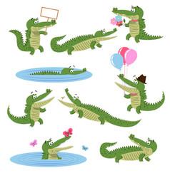 crocodile daily activities set cartoon predator vector image
