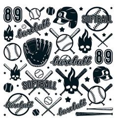 icon and badge set of baseball and softball vector image