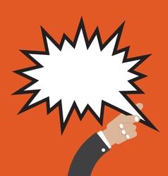 Comic Speech Bubble In Hand vector image