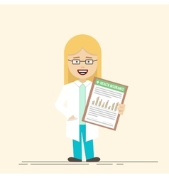 Female doctor or nurse with a clipboard in his vector image