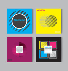 flat style abstract colorful posers set art vector image