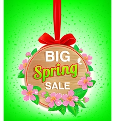 Wooden banner spring vector image vector image