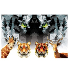 Collection of geometric polygon animals tiger vector image vector image