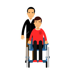 disabled man in wheelchair friend or social vector image