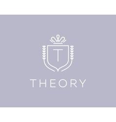 Elegant monogram letter t logotype premium crest vector