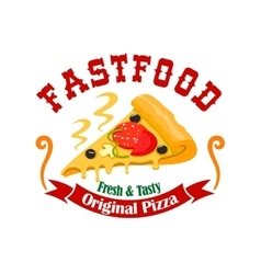 Fast food pizza slice label vector image vector image