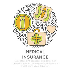 medical insurance hand draw cartoon icon concept vector image
