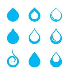 Set of Nine Water Drop Icon vector image vector image
