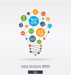 web development integrated thin line icons vector image