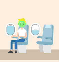 aerophobia concept panic in the plane young blond vector image