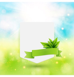 Paper note with ribbon and leaves on bright summer vector image vector image