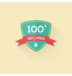 security shield icon badge in flat style vector image