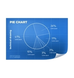 Technical wireframe with pie chart vector image