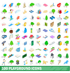 100 playground icons set isometric 3d style vector
