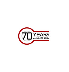 70 years anniversary with circle outline red vector