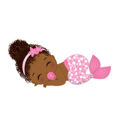 African american cute baby mermaid with pacifier vector
