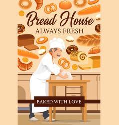 Baker with wheat bread and pastries bakery shop vector