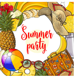 Banner summertime vacation attributes vector